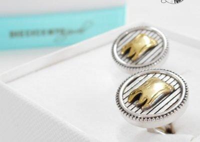 Gioiello per lui - Gemelli in argento brunito e dorato