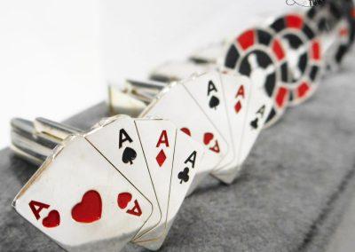 Gioiello per lui - Gemelli in argento smaltato a tema Carte da gioco