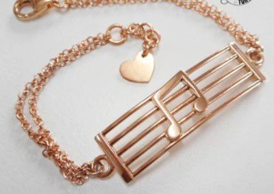 Idee regalo per i Testimoni - Bracciale donna in argento rosato - Tema Musica